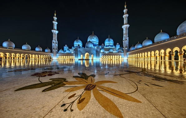 Picture night, lights, architecture, the dome, UAE, Abu Dhabi, the minaret, the Sheikh Zayed Grand mosque