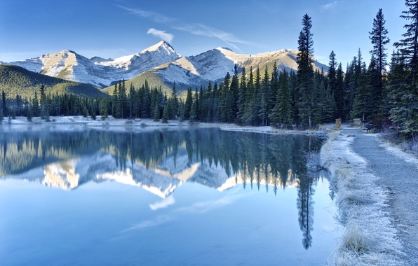 Picture winter, forest, the sky, snow, trees, landscape, mountains, Canada, Albert, lake Kananaskis