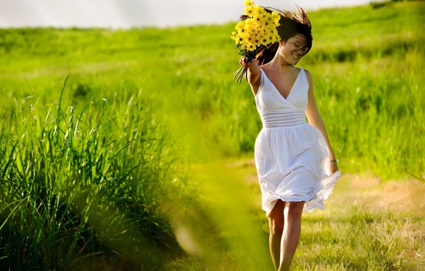 Picture greens, grass, girl, joy, flowers, freshness, nature, smile, situation, Wallpaper, mood, positive, yellow, dress, brunette, …