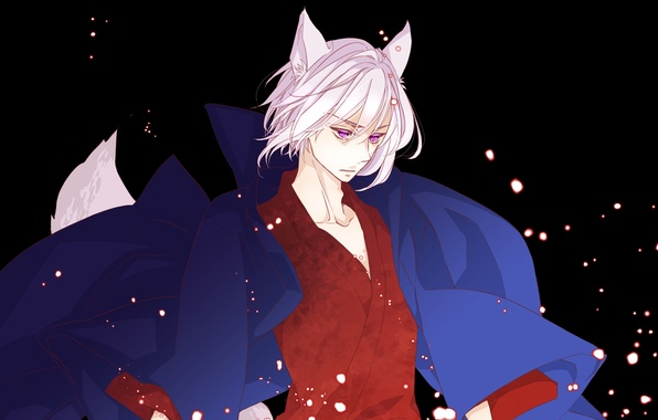 "Picture fantasy, anime, art, guy, ears, Tomoe, God "", ""Very nice, the Fox-demon"