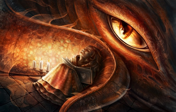 Picture eyes, dragon, sleep, candles, art, girl, tail, book, Elena Mikhailava