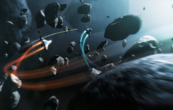Picture space, the game, ships, battle, art, the asteroids, Elite Dangerous