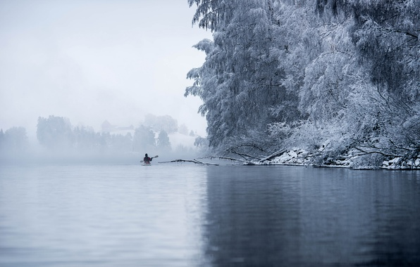 Picture winter, frost, trees, lake, boat, Norway, kayak, County Akershus