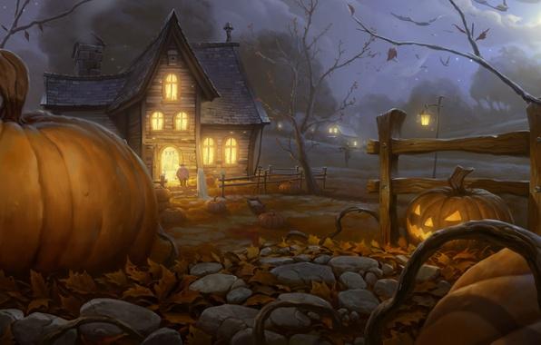 Picture night, lights, house, art, Halloween, pumpkin, Halloween, the garden, guest