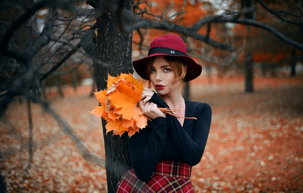 Picture autumn, leaves, girl, trees, skirt, bouquet, hat, makeup, blouse, red