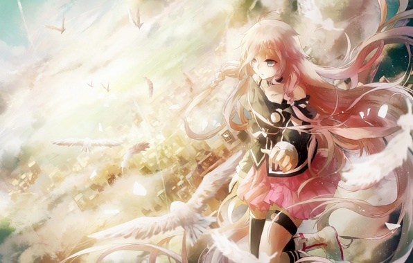 Picture girl, birds, the city, height, anime, art, vocaloid