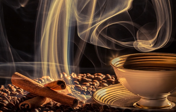 Wallpaper Saucer, Smoke, Cup, Drink, Grain, Coffee Images
