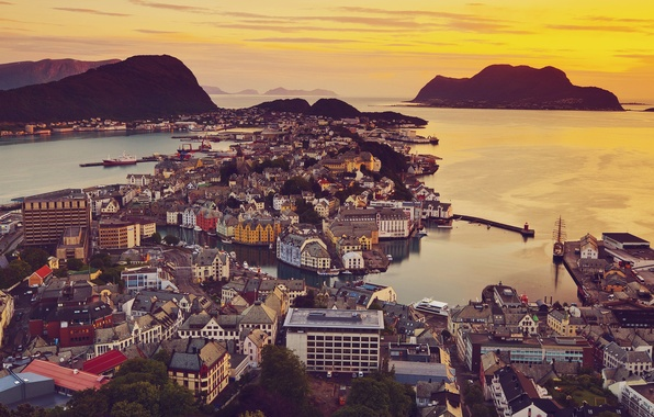 Picture Sunset, Home, The ocean, The city, View, Norway, Norway, Sunnmre, Mre and Romsdal, Elevated, View, …