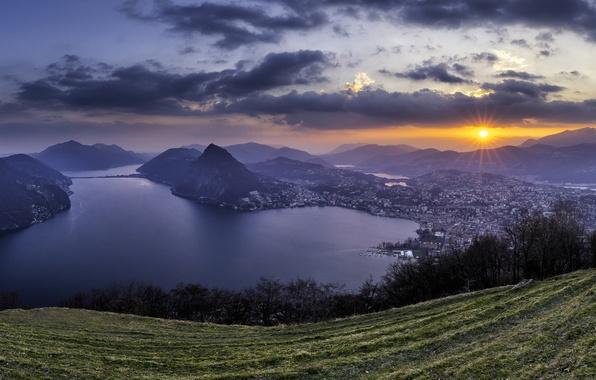 Picture sunset, mountains, lake, Switzerland, Alps, panorama, Switzerland, Alps, Lake Lugano, Ticino, Ticino, Ruvigliana, lake Lugano, …