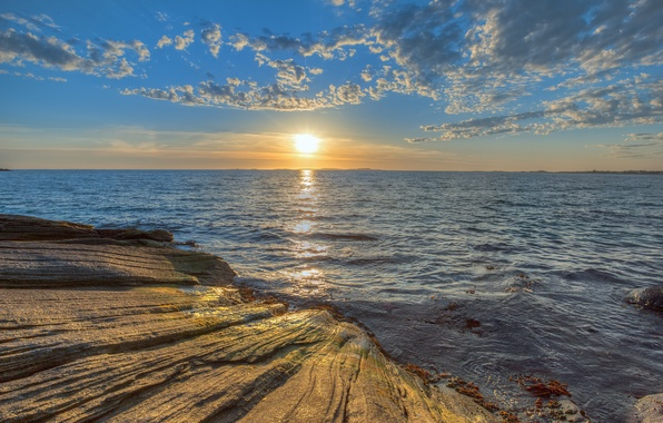 Picture sea, the sky, the sun, clouds, sunset, nature, stones, rocks