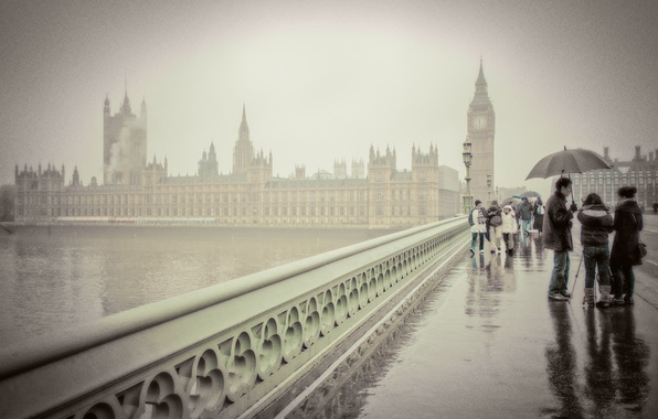 Picture bridge, people, London, umbrella, Big Ben, London, Big Ben