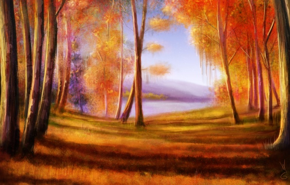 Picture autumn, forest, trees, nature, art