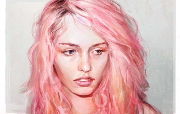 Picture eyes, girl, face, art, pink hair
