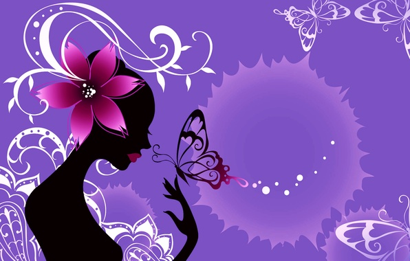 Picture flower, girl, abstraction, style, collage, butterfly, silhouette