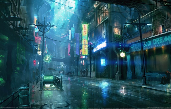 Picture night, city, the city, rain, rain, night, game wallpapers, Dreamfall: Chapters