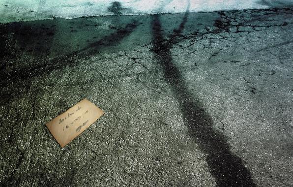 Picture void, hopelessness, letter, asphalt