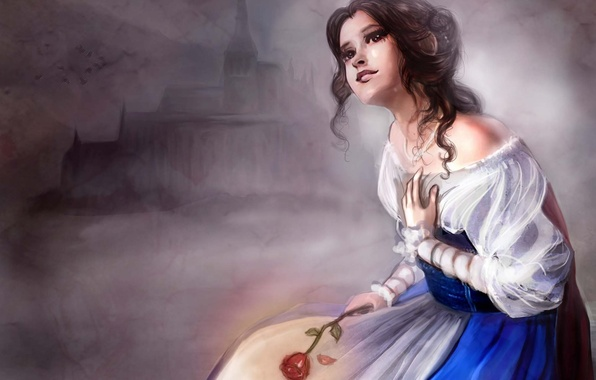Picture castle, dress, red rose, belle, beauty and the beast, Belle, beauty and the beast