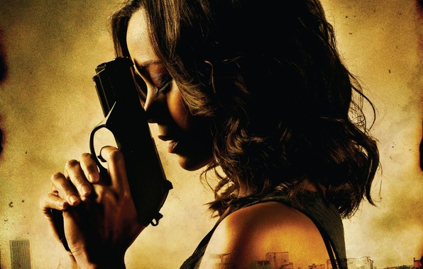 Picture girl, gun, action, Zoe Saldana, Zoe Saldana, Colombiana, Colombian