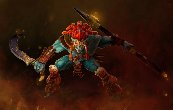Picture weapons, warrior, art, stand, Troll, Dota 2, Huskar, Sacred Warrior, stephors