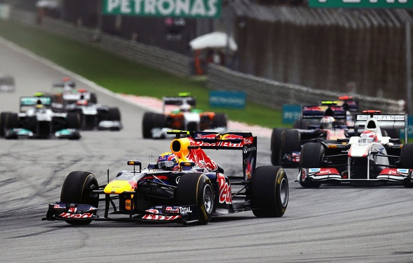 Photo wallpaper Photo, Race, Track, Formula-1, Red Bull, 2011, Mark Webber, RB7, Cars, Track, Circuit, International, Sepang, ...