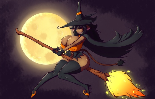 Picture the moon, witch, broom, Halloween, halloween
