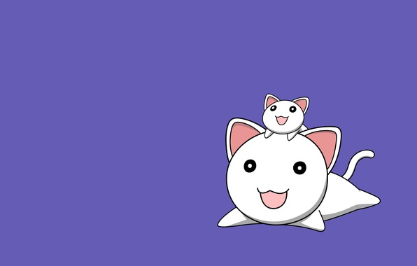Picture cat, smile, background, lilac, cats, minimalism, Anime, two