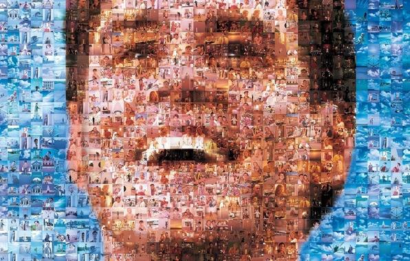 Picture mosaic, portrait, Jim Carrey, Jim Carrey, artwork, The Truman show smile, scene., screenshots