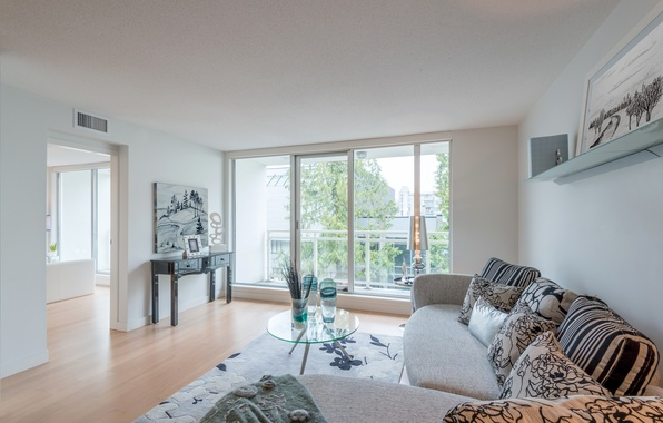 Picture photo, table, sofa, carpet, interior, window, vase, living room