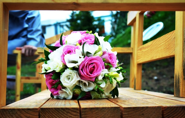 Photo wallpaper flowers, wedding, roses, wedding bouquet