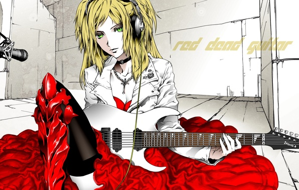 Picture guitar, dress, blonde, microphone, electric guitar, green eyes