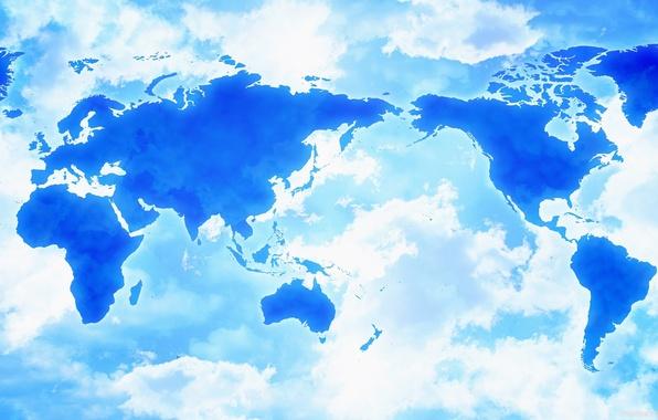 Picture clouds, Asia, map, America, Africa