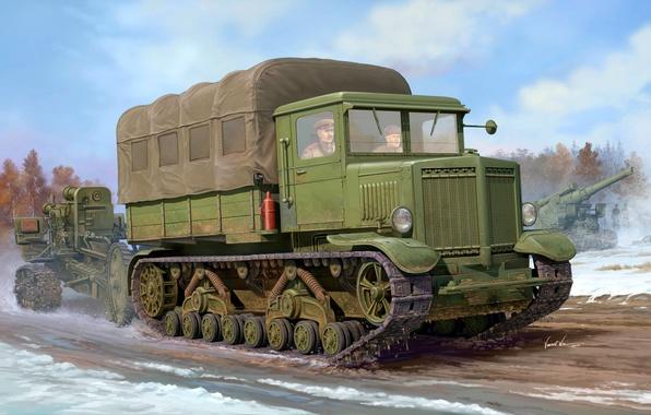 Picture art, artist, USSR, WWII, heavy, power, shooting, tractor, Soviet, caliber, WW2, conveyor, B-4, howitzer, artillery, …