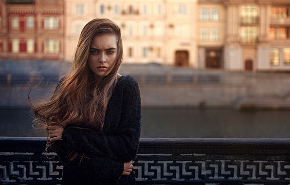 Picture cold, girl, the city, the wind, hair, George Chernyadev, shiver