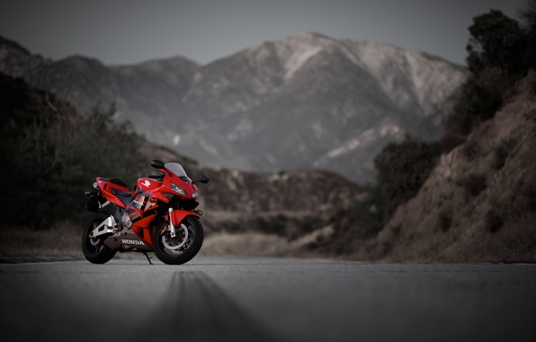 Picture road, mountains, red, motorcycle, red, honda, Honda, cbr600rr