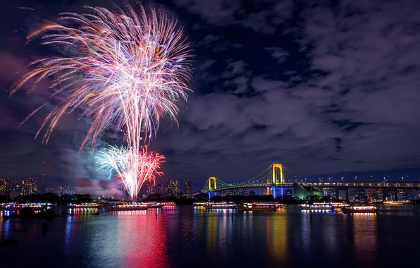 Picture night, bridge, lights, river, holiday, salute, Japan, Tokyo, fireworks, night city, capital