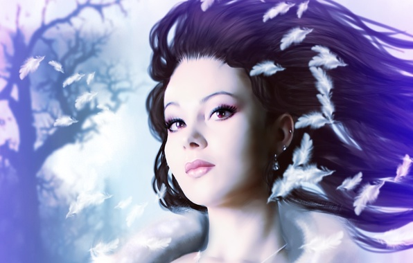 Picture eyes, look, girl, face, hair, earrings, makeup, art, Princess, white feathers