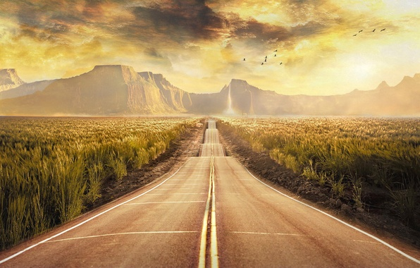 Picture field, clouds, landscape, mountains, birds, treatment, Road