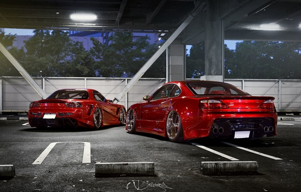 Picture car, tuning, nissan, red, mazda, rx7, tuning, silvia, s15, rx-7