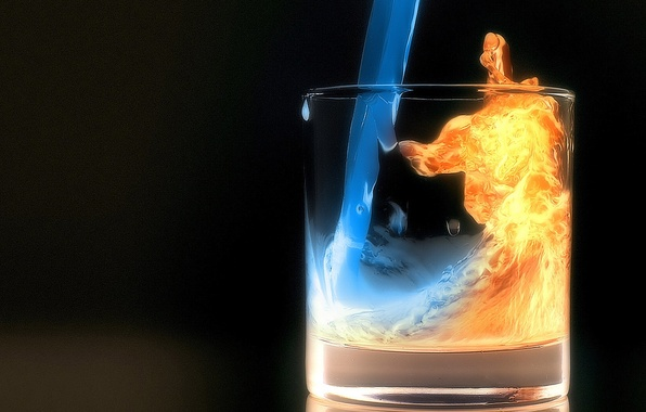 Picture water, night, glass, fire