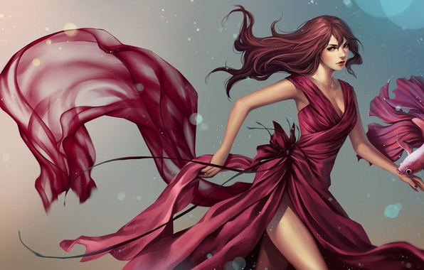 Picture girl, fish, fish, dress, art, pink, cock