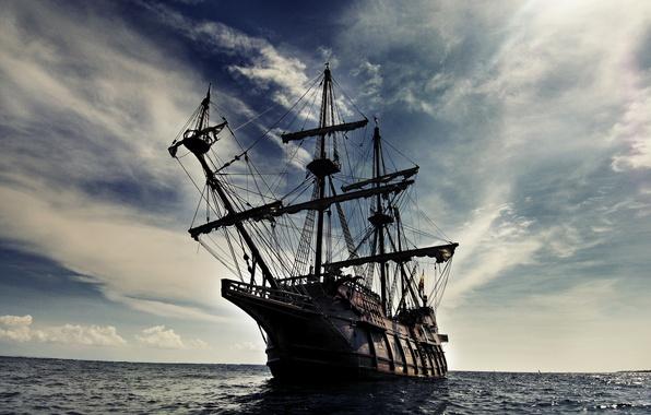 Picture sea, wave, the sky, clouds, landscape, ship, sailboat, Galeon