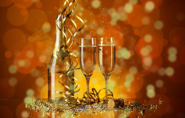 Picture holiday, bottle, new year, glasses, tube, champagne, serpentine, bokeh, sequins