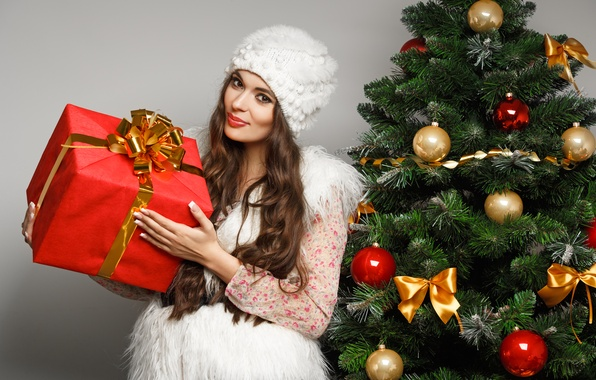 Picture girl, balls, box, gift, hat, toys, tree, makeup, New Year, brunette, Christmas, white, bows, Christmas, …