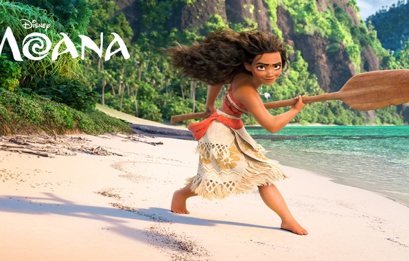 Picture sand, sea, rocks, shore, cartoon, fantasy, girl, paddle, Walt Disney Pictures, aboriginal, Moana, Moana