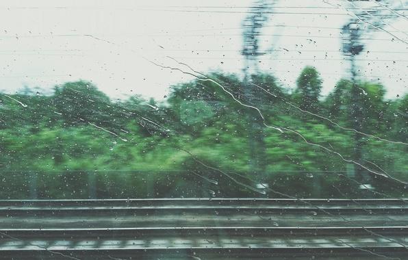 Picture road, drops, movement, rain, coupe, train, window, iron