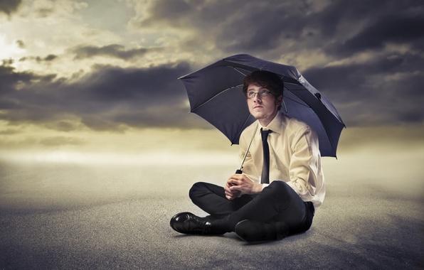 Picture sand, umbrella, glasses, tie, male, shirt