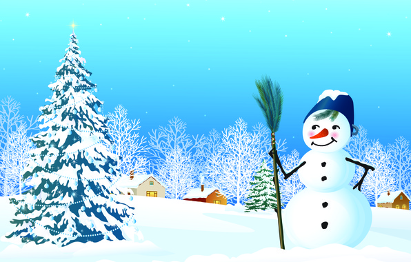 Picture snow, Windows, stars, houses, snowman, tree, Christmas decorations, new year's eve