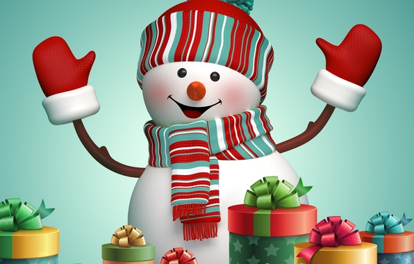 Picture New Year, Christmas, gifts, snowman, Christmas, New Year, cute, snowman, decoration, Merry