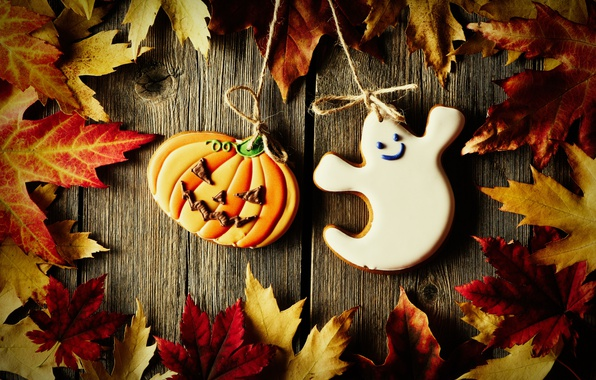 Photo wallpaper Halloween, pumpkin, Board, glaze, cookies, maple leaves, rope, Halloween, cast