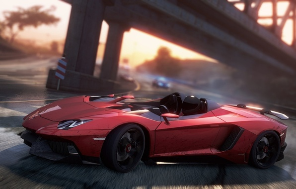 Picture road, bridge, race, skid, sports car, Aventador J, need for speed most wanted 2012